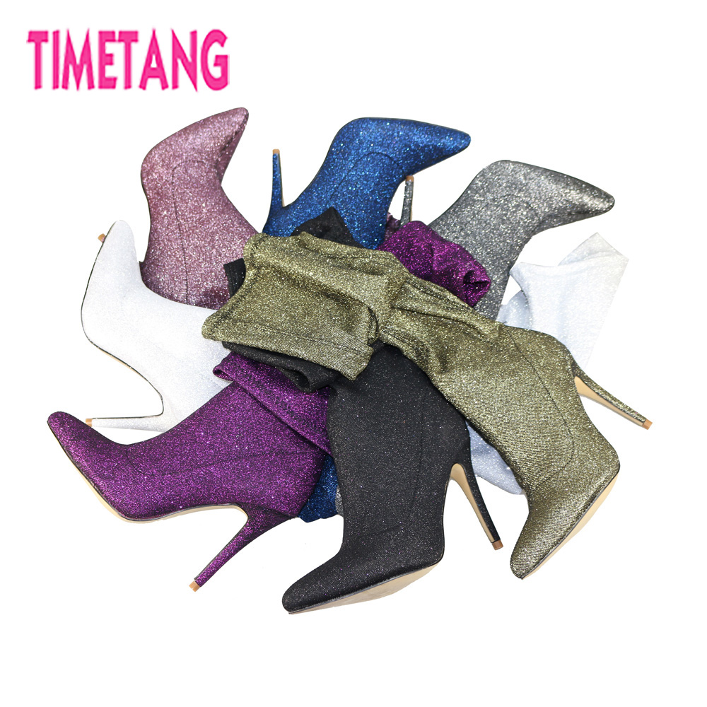 TIMETANG 2018 Sexy Pointed Toe High Heel Over-the-Knee Woman Boots Shining Bling Party/Club Lady/Girl Thigh High Long Boots звуковая карта внутренняя creative sound blaster audigy fx 70sb157000000