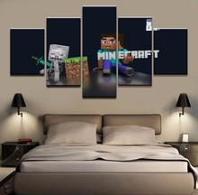 Minecraft Game HD Print Picture Painting Home Decor Artwork 5 Pieces Canvas Wall Art Living Room