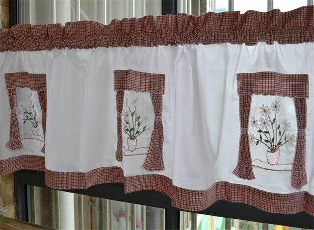 Tende Per Finestra Cucina : Cotone ricamato tenda della finestra per la cucina breve fiore tende