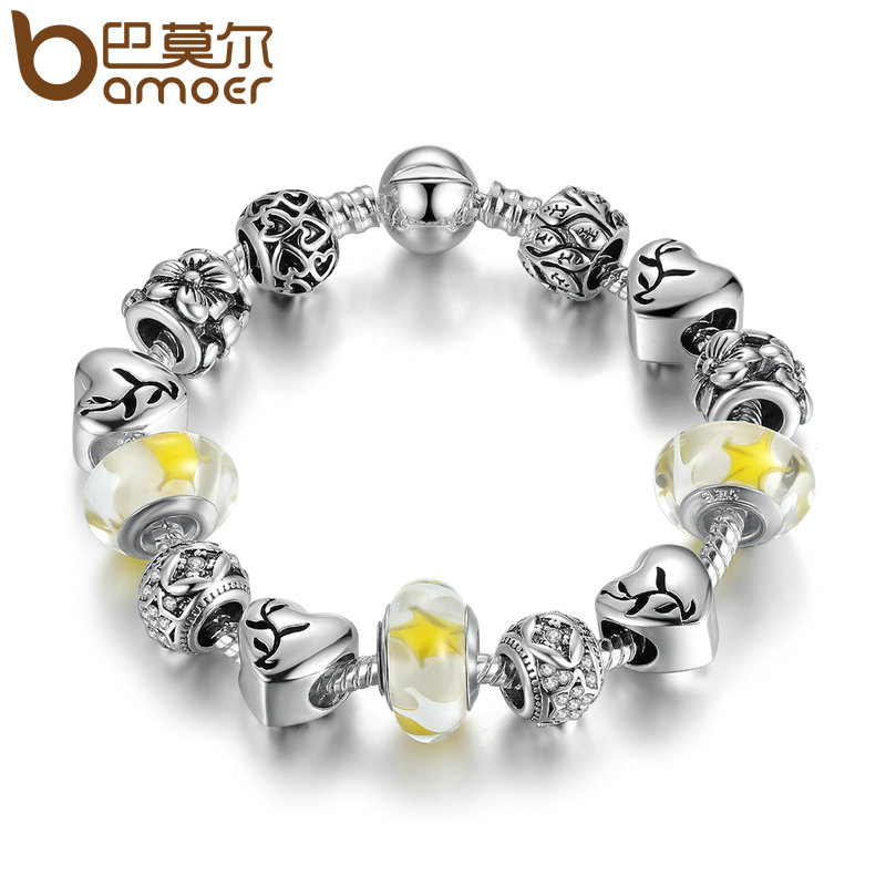 BAMOER Delicate Charm Bracelet Silver Color Yellow Glass Beads Round Snake Clasp Charms Bracelets Women DIY Jewelry PA1892 delicate turquoise beads spiral charm anklet for women