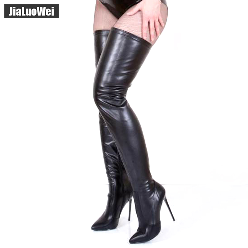jialuowei 2018 New Sexy Style Over The Knee Boots 12CM Super High Heel Women Boots Zipper Fashion Unisex Boots Plus Size 36-46 qiu dong in fashionable boots sexy and comfortable women s shoes the new national style high heel heel thick heel