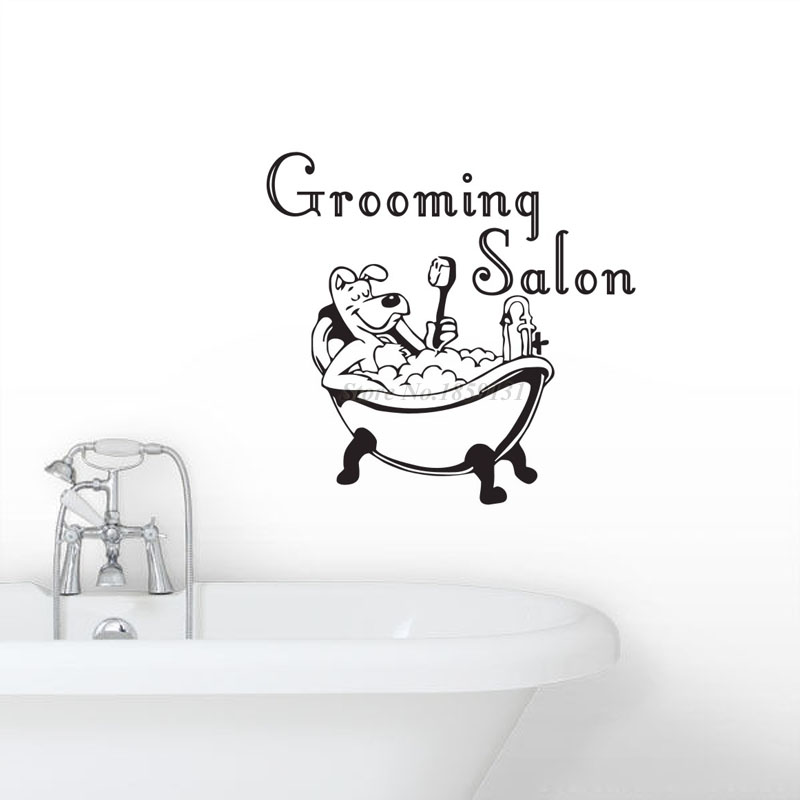 Petshop grooming salon wall sticker dog taking a bath for A bath and a biscuit grooming salon