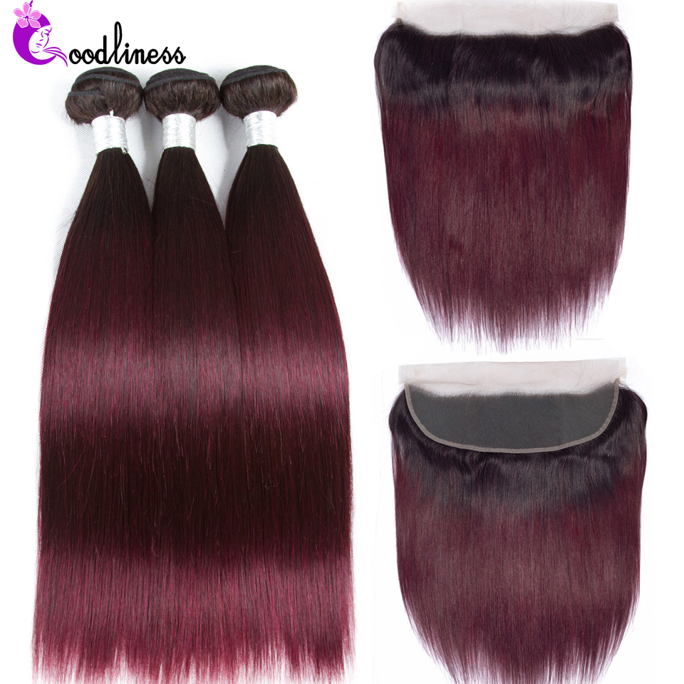 Goodliness 1b/99jColored Bundles With Frontal Brazilian Ombre Bundles With Frontal Straight Human Hair Lace Frontal With Bundles