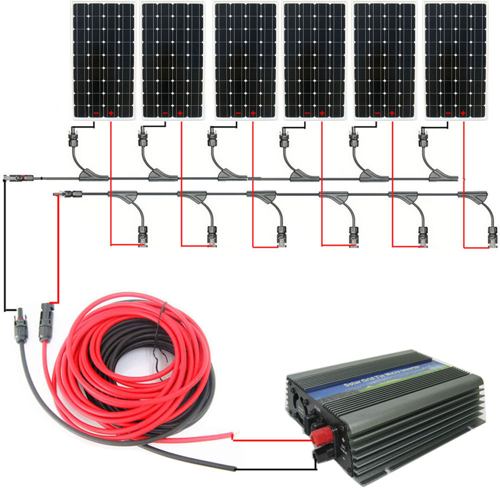 Large DE style COMPLETE KIT:900w 6*150w mono solar panel system with 1000W 12v/230v grid tie invertor# * зажимы apex hic mono kit red