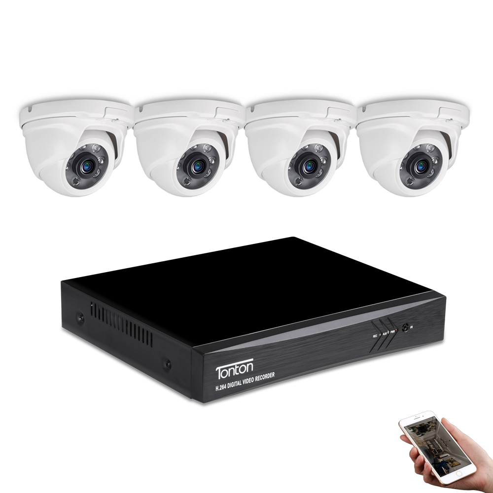 6 PCS Infrared LED with IR Cut Tonton Full HD 1080P 2.0MP Indoor//Outdoor Dome Camera Suitable for TVI DVR Recorder Night Vision up to 60 ft