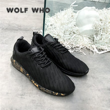 WOLF WHO 2018 Fashion Men Shoes Casual Mesh Breathable Light Soft Black Slipon Mens Shoe Male Trainers Sneakers Human Race X-147(China)