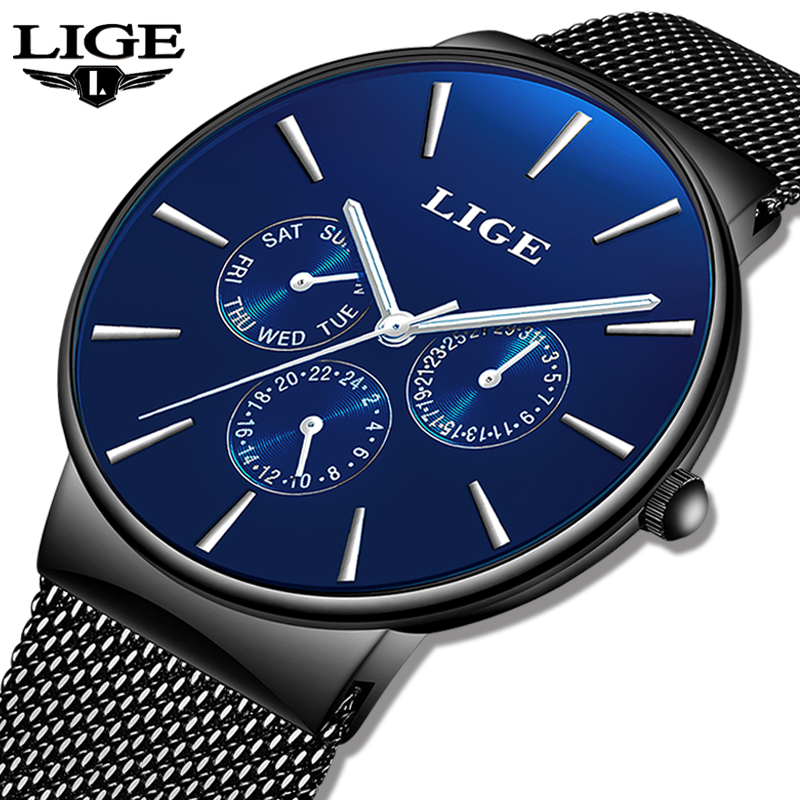 2019 LIGE New Fashion Casual Quartz Men Watch Waterproof Ultra Thin Sports Mens Watches Top Brand Luxury Wrist Watches For Men