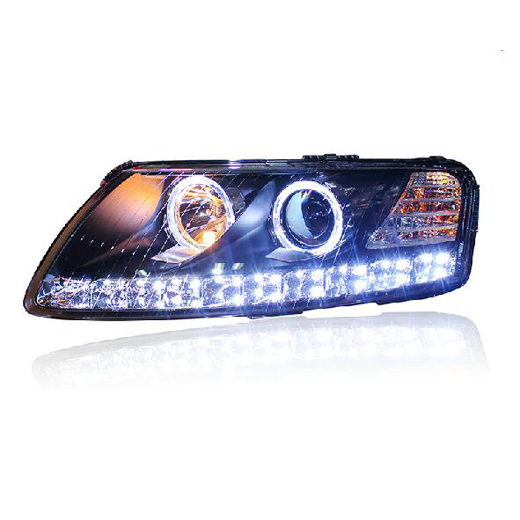 Ownsun New Eagle Eyes LED DRL Bi-xenon Projector Lens Headlights For Audi A6L 2005-2008 ownsun new style tear drop led projector lens headlight for new ford focus 2012 2013