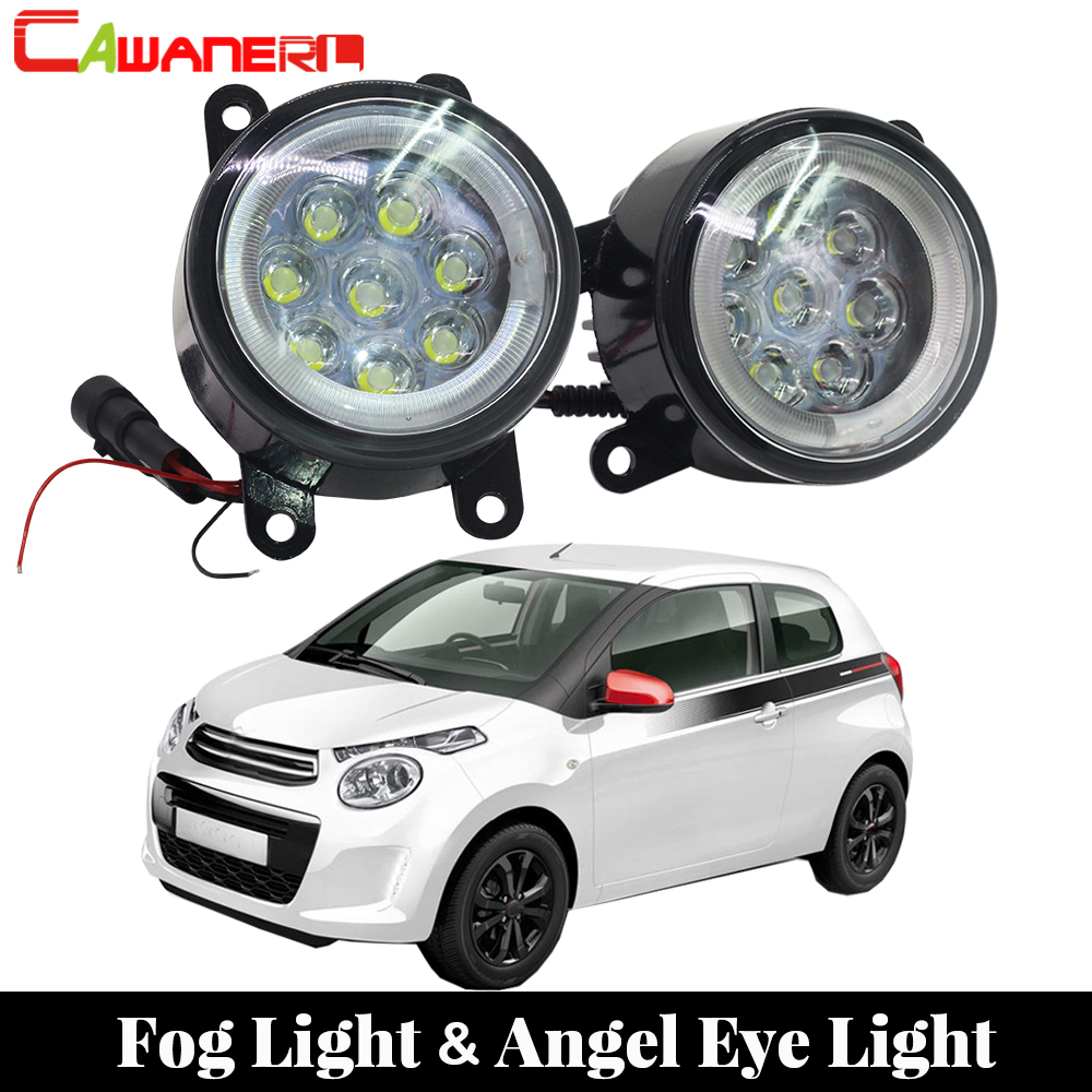 Cawanerl For Citroen C1 (PM_, PN_) Hatchback 2005 Onwards Car LED Lamp Fog Light Angel Eye DRL Daytime Running Light 12V Styling 2017 new flower girl dresses lace up appliques o neck short sleeves lace up first communion birthday dresses vestidos longo hot