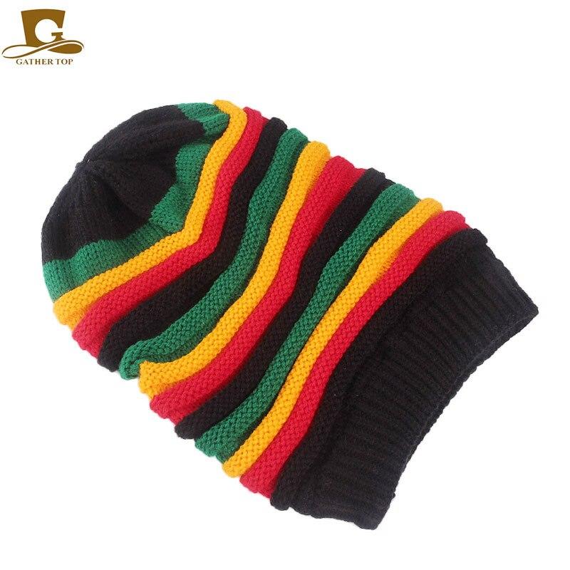 Moda Bob Marley reggae Giamaicano cap Multi colore A Righe Rasta Cappello  Slouchy Baggie Beanie Skullies Gorro rasta Donne in Moda Bob Marley reggae  ... 917e7c8babd5