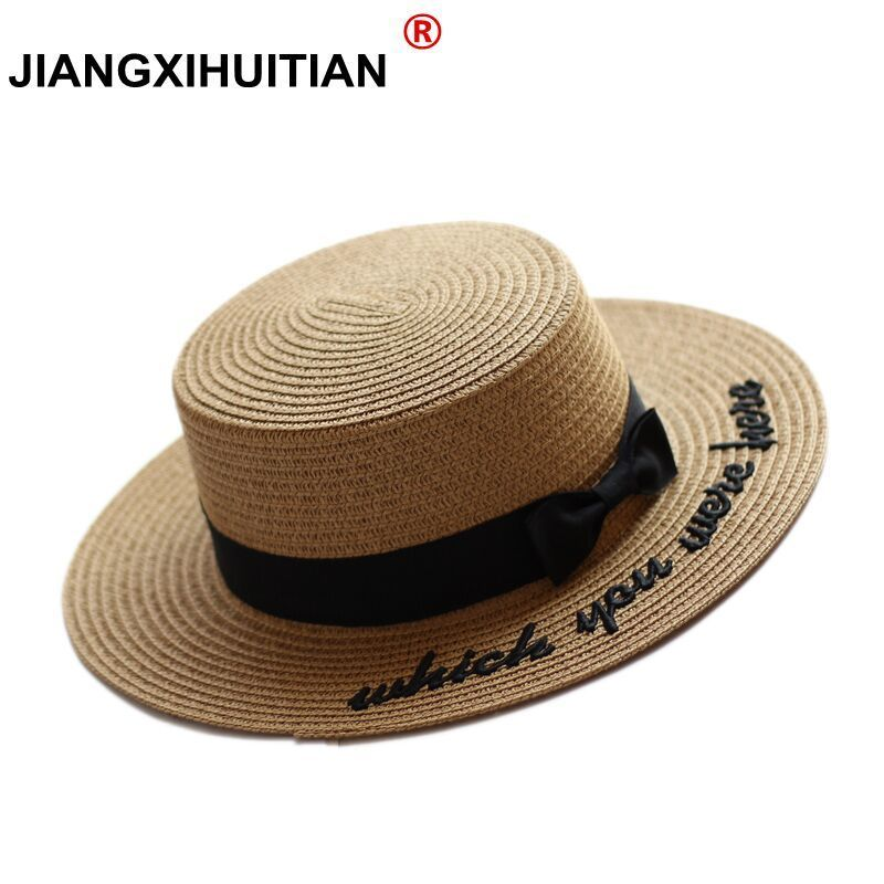 2017 Summer New Embroidery Letter Boater Hat Ribbon Round Bow Flat Top Wide Brim Straw Hat Women Fedora Panama Hat Free Shipping