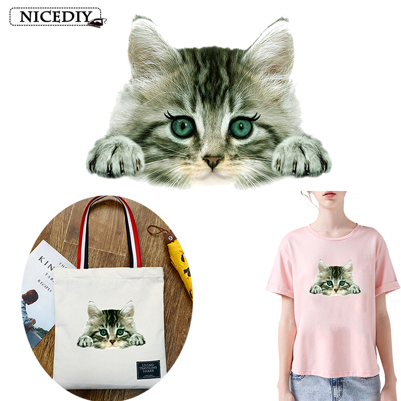 Nicediy Parches 3D Photo Cat Patch Heat Transfer Vinyl Sticker Iron On For Clothes Fabric Applique Washable Decor
