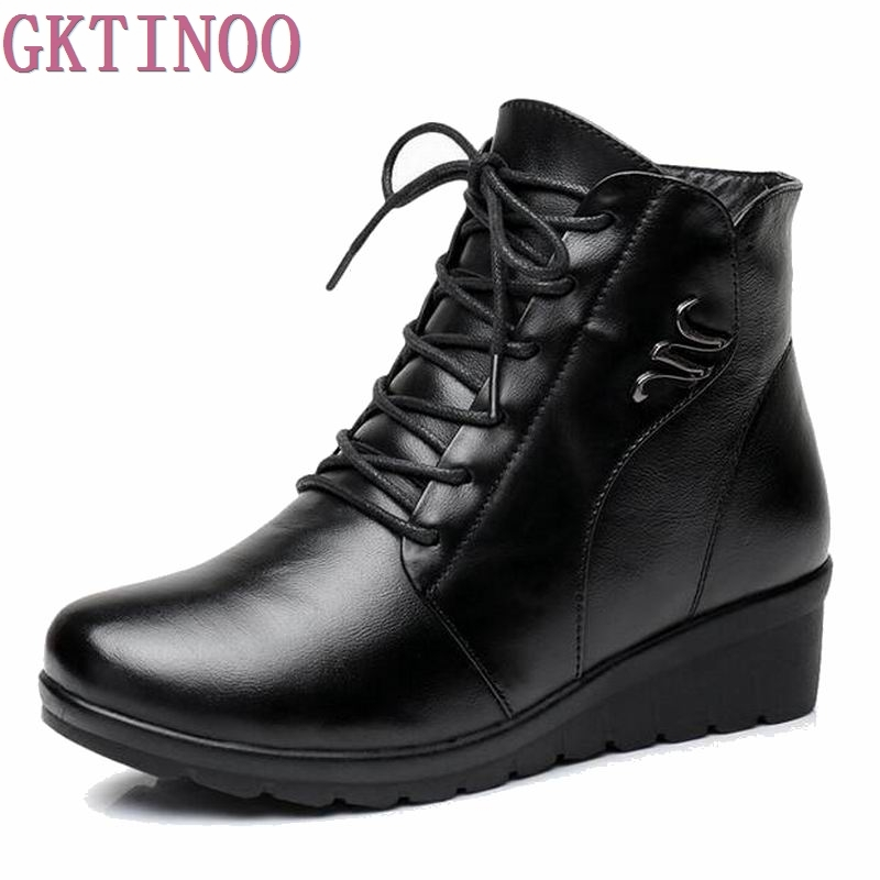 GKTINOO Brand New Style Winter Women Boots Warm Genuine Leather Snow Boots Female Medium Heels Round Toe Fashion Flats Boots only true love new arrival genuine leather women fashion flat heels equestrian snow boots round toe women boots