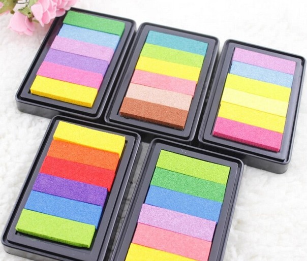6colors 9*6cm Inkpad Craft Oil Based Diy Ink Pads For Rubber Stamps Fabric Scrapbook Wedding Decor Fingerprint Kids Art Supply