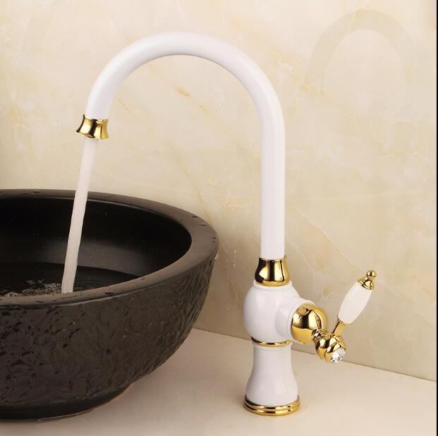 White and gold finished bathroom sink faucet single lever hot and cold sink faucet,basin tap mixer new arrival chrome gold black red finished bathroom high single lever hot and cold sink faucet basin tap mixer