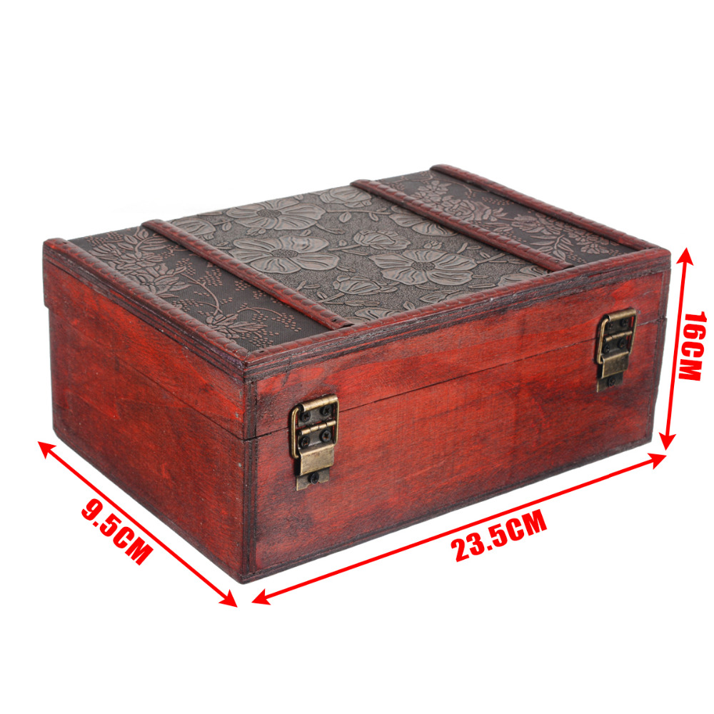 Us 14 58 35 Off Mayitr Large Wooden Box Decorative Jewelry Lock Case Chest Handmade Trinket Storage For Home Craft Container In Bo