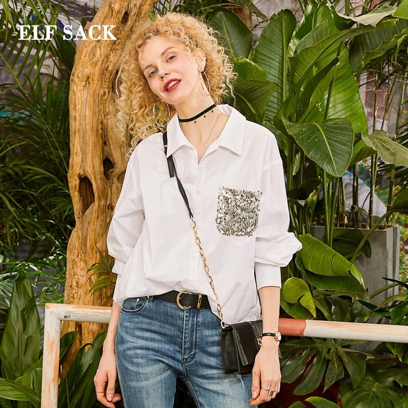 Kadın Giyim'ten Bluzlar ve Gömlekler'de ELF ÇUVAL 2019 Bahar Yeni pamuk gömlekler Kadın turn aşağı Yaka Tam Femme Bluz Streetwear Ince Gevşek Payetli Bayan Gömlek'da  Grup 1
