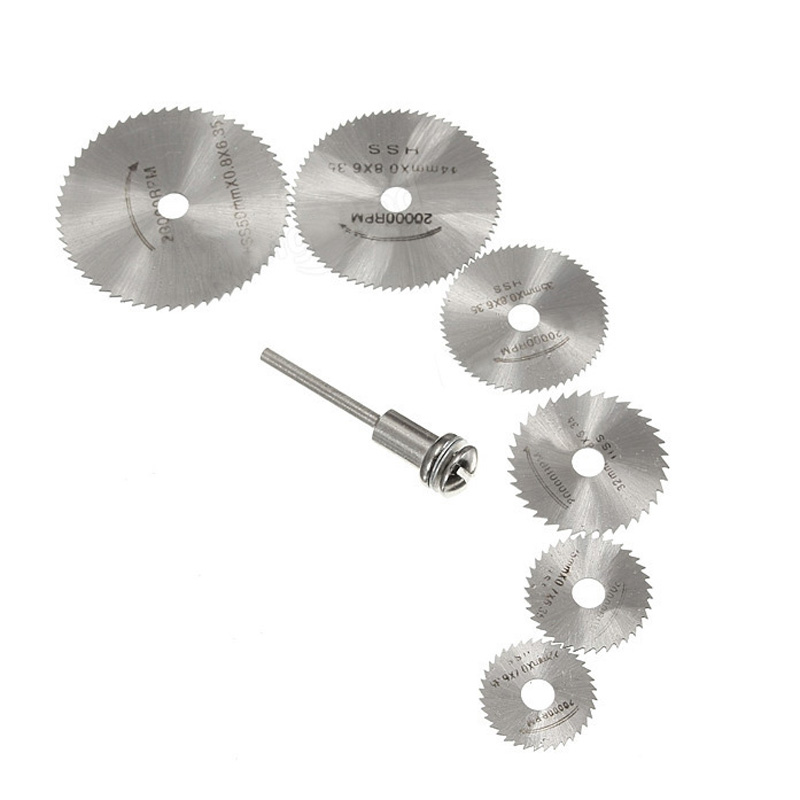 7PCS HSS Circular Wood Cutting Saw Blade Discs Mandrel 22mm-50mm For Rotary Tool