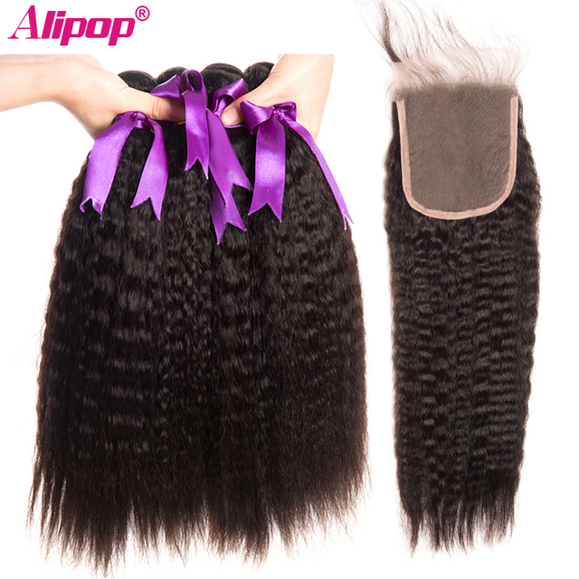 Kinky Straight Hair With Closure Peruvian Yaki Human Hair 3 Bundles With Closure Alipop Remy Hair Closure With Bundles 10-28Inch