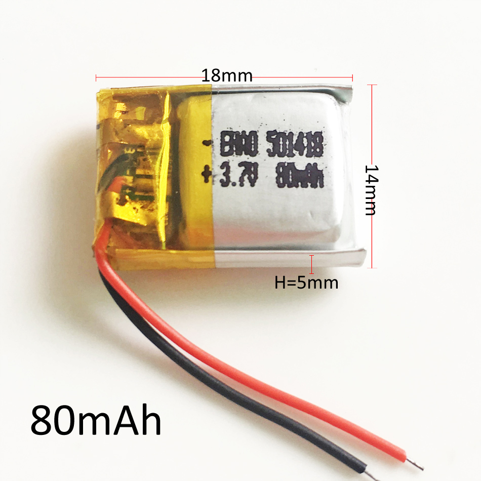 501418 3.7V <font><b>80mAh</b></font> Lithium Polymer <font><b>LiPo</b></font> Rechargeable Battery Li cells For Mp3 GPS smart watch bluetooth speaker headset headphone image