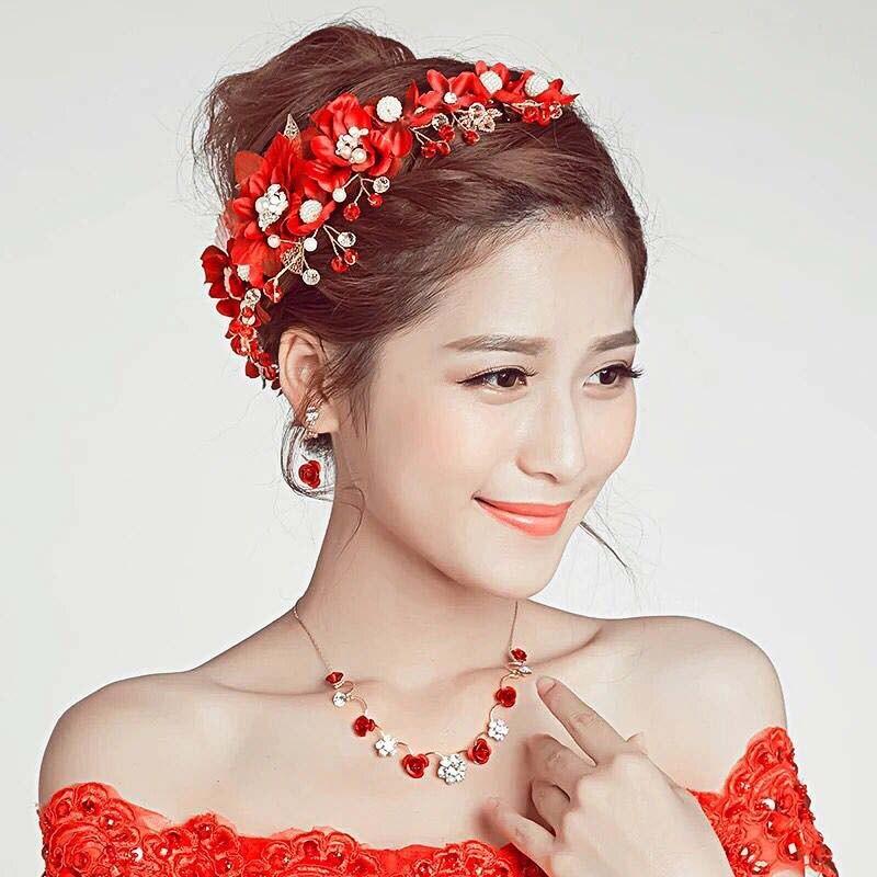 Red Flower Crystal Plum Korean Bride Headband Pearl Bridal Wedding Headdress Handmade Hair Ornaments Jewelry Accessories BH
