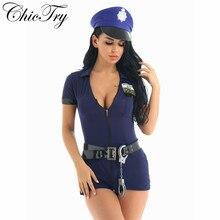 Das Senhoras Das Mulheres do sexo feminino Meninas Traje Oficial Policiais Cosplay Uniforme Da Polícia Mulheres Fancy Dress Outfit Com Chapéu Cinto Algemas