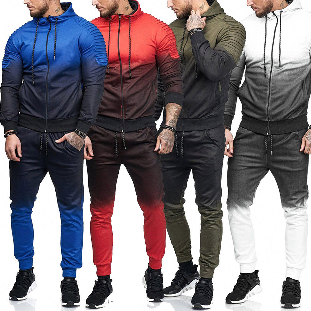 Men Trackies Tracksuit Set Zipper Hoodie Top & Pants Sweater Coat Men's Autumn Hooded Sweatshirt + Trousers Sets