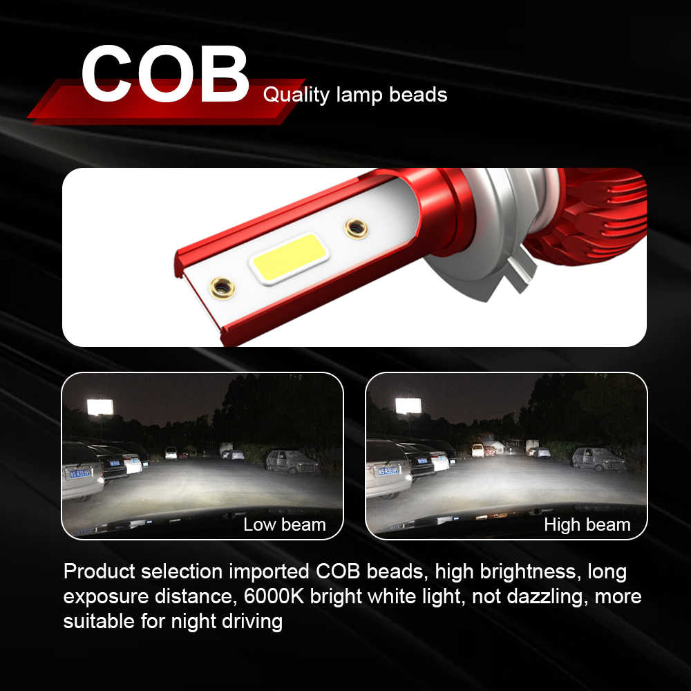 H7 LED H4 COB Chip Car Headlight Bulbs Motorcycles Headlight Farol Moto H1 H11 9005 9006 hb4 hb3 Auto Headlamp Fog Light Bulb