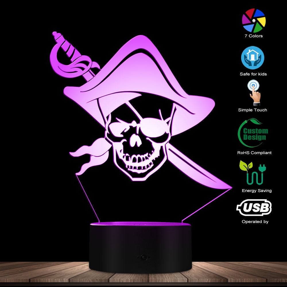 Pirate Skull With Sword 3D Glowing LED Night Light Man Cave Decorative Light One Eyed Pirate Skull Acrylic Display Table Light