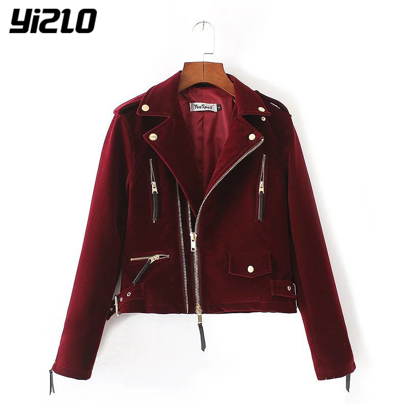 YIZLO women Cool wine red motorcycle jacs