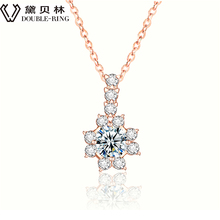 DOUBLE-RING Charms Fine Jewelry Bijouterie 45cm Chain 18k Gold Flower Style Romantic Necklace For Women CANL00276KA-3
