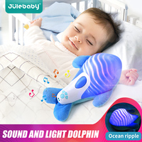 2019 New Baby Stuffed Animal Soothe Toy Hypnotic Sound and Light Dolphin Appease Doll Baby Sleeping Soft Toys
