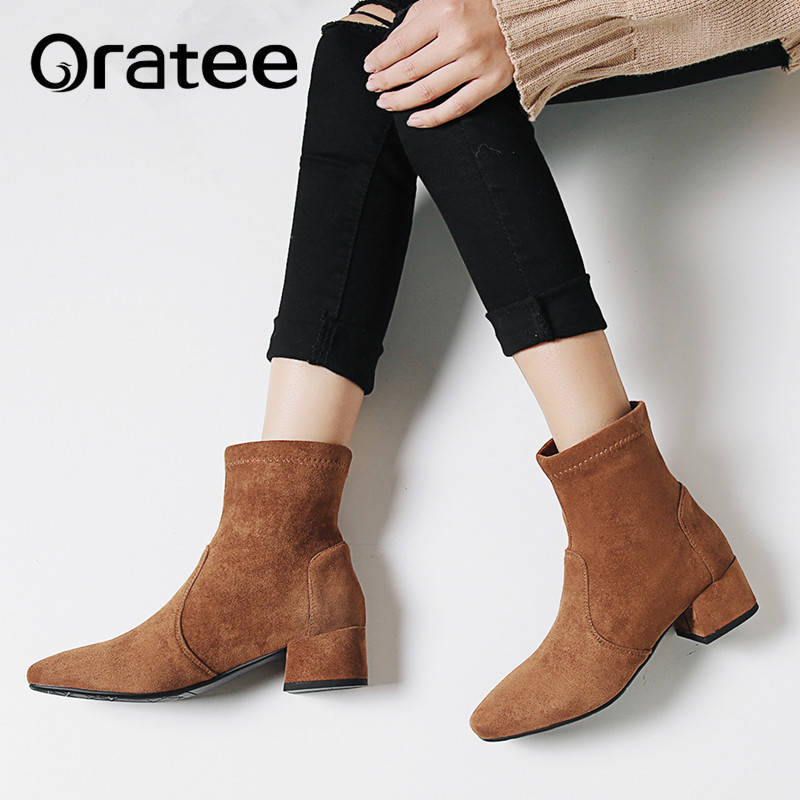 New Women Shoes High Heels Slip ankle boots Autumn winter Stretch socks boots elegant Square Med