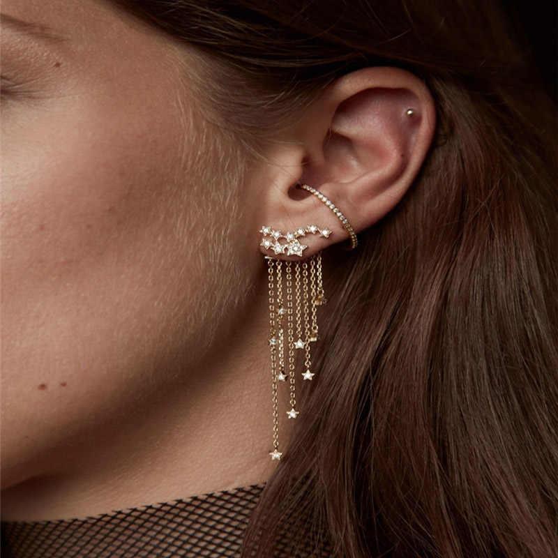 RAVINOUR Star Tassel Earrings Women 2018 Gold Silver Color Fashion Front Back Hanged fringe Earings Long Chain Bohemian Jewelry
