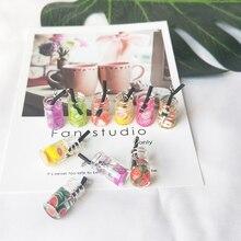 10pcs/lot Fruit Juice Bottle Design Charms 3D Resin Drink Pendants Earring Charm Fashion Jewelry Accessories YZ336
