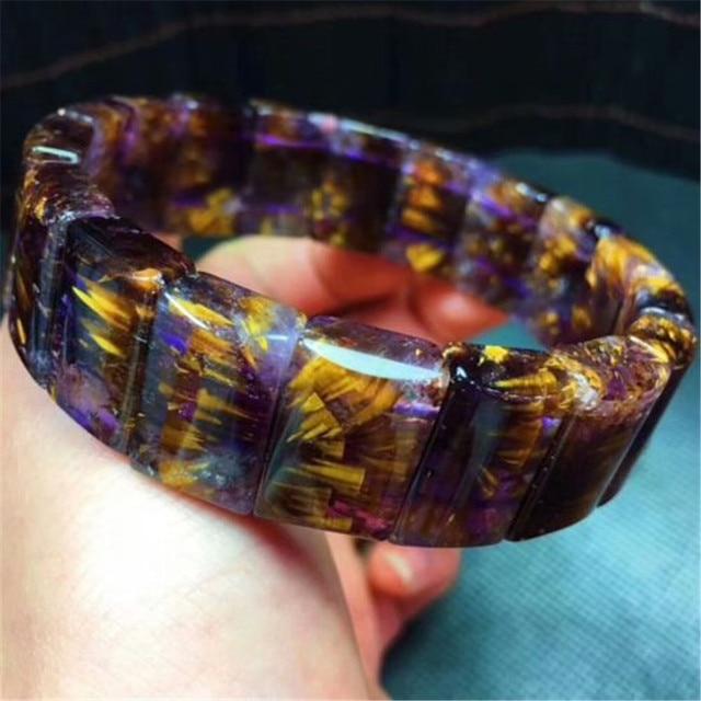 Genuine Purple Red Auralite 23 Caenite Women Rectangle Bead Nice Crystal Bracelets 18 12mm