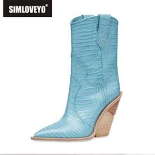 купить SIMLOVEYO 7 color Snake Fashion Women Slip On Cowboy Boots runway design Strange Style high heel Shoes Woman Pointed Toe Pump по цене 2887.99 рублей