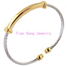 Women Mens Jewelry Silver Gold Tone Twisted Cable Bracelets 316l Stainless Steel Cuff Bangles Fashion Jewelry