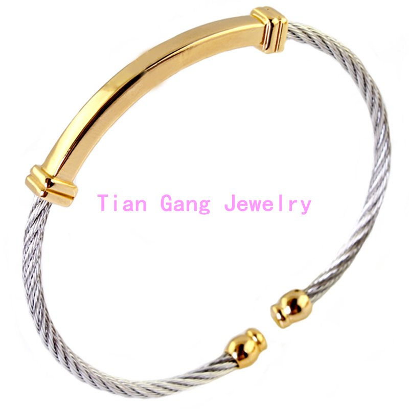 Women Mens font b Jewelry b font Silver font b Gold b font Tone Twisted Cable