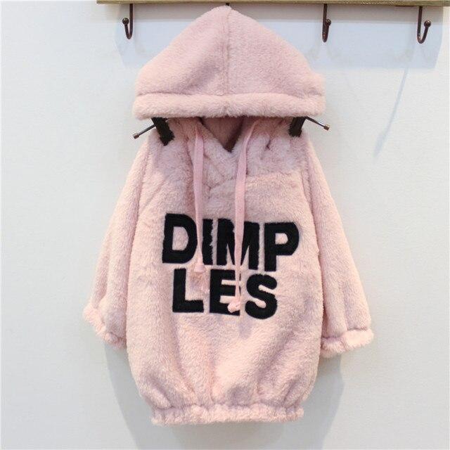 Девушки печать письма свитер ребенок ребенок свободного покроя пуловер дети зима теплая кофты девушка мода розовый толстовки