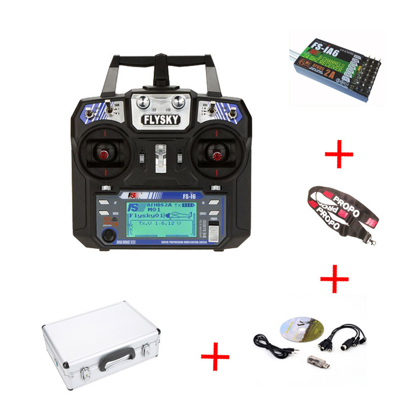 2016 Flysky FS-i6 2.4GHz 6CH AFHDS 2A Radio System Transmitter for RC Helicopter Glider with FS-iA6 Receiver Aluminum Case Gift flysky 2 4g 6ch channel fs t6 transmitter receiver radio system remote controller mode1 2 lcd w rx rc helicopter multirotor