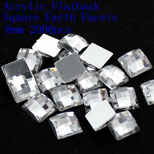 4mm 5mm 6mm 8mm 12mm Acrylic Rhinestones Flat Back Square Earth Facets Crystal Color Glue On Beads DIY Crafts Jewelry Making 12 facets of a crystal