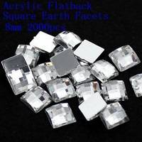 Hot Sale 4mm 5mm 6mm 8mm Acrylic Flat Back Square Earth Facets Crystal Color Acrylic Rhinestone