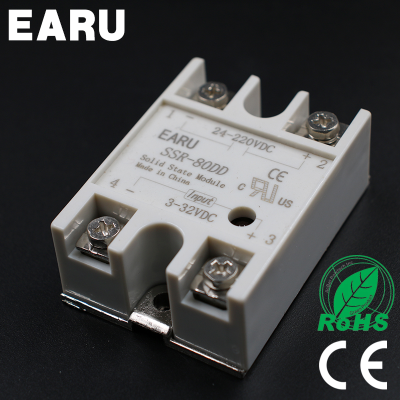 1 pcs Solid State Relay SSR-80DD 80A 3-32V DC Input TO 24-220V DC SSR 80DD SSR-80 DD Industry Control Factory Wholesale Hot normally open single phase solid state relay ssr mgr 1 d48120 120a control dc ac 24 480v