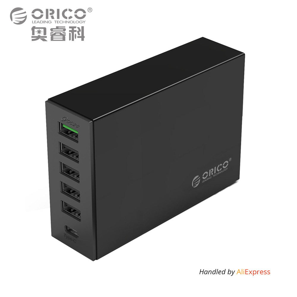 Type-C QC2.0 Quick Charger, ORICO 6-ports Charger 5V2.4A 9V2A 12V1.5A Type-C 3.1A Mobile Phone Charger for iPhone Samsungmore