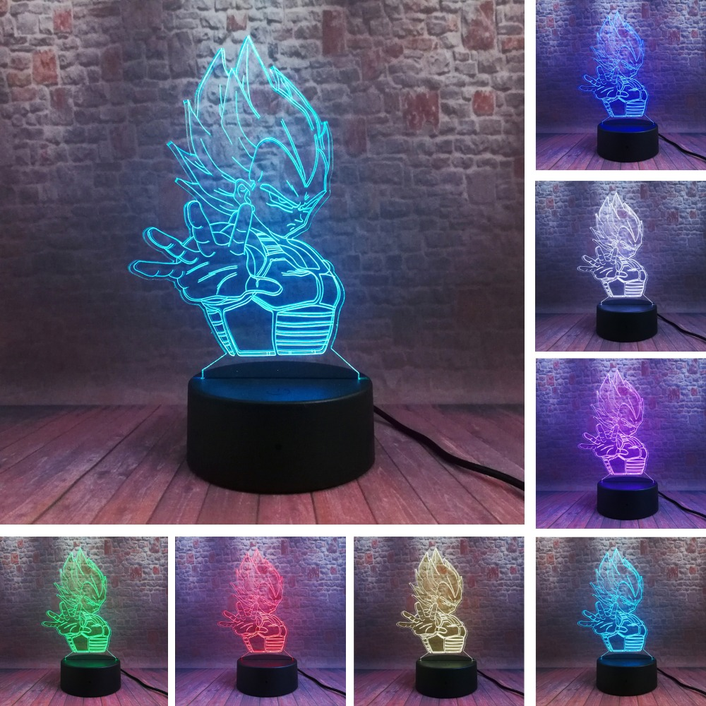 Dragon Ball Vegeta Saiyan Legends 7 Color Change 3D Figure Colorful Night Light Creative Table Bedside Lamp Fans Boys Man Gifts