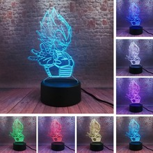 Figurines de Dragon Ball, véga Saiyan, 7 couleurs changeantes, lumière créative, lampe de chevet, Table de chevet, pour garçons et hommes, éclairage de noël