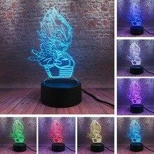 דרקון כדור Vegeta Saiyan אגדות 7 צבע שינוי 3D איור צבעוני לילה אור Creative מנורת שולחן המיטה f אוהדי בני איש חג המולד