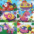 11 patrones para niños de espuma mosaico pegatinas rompecabezas arte diy del diamante 3d pegado de personaje de dibujos animados para niños juguetes educativos