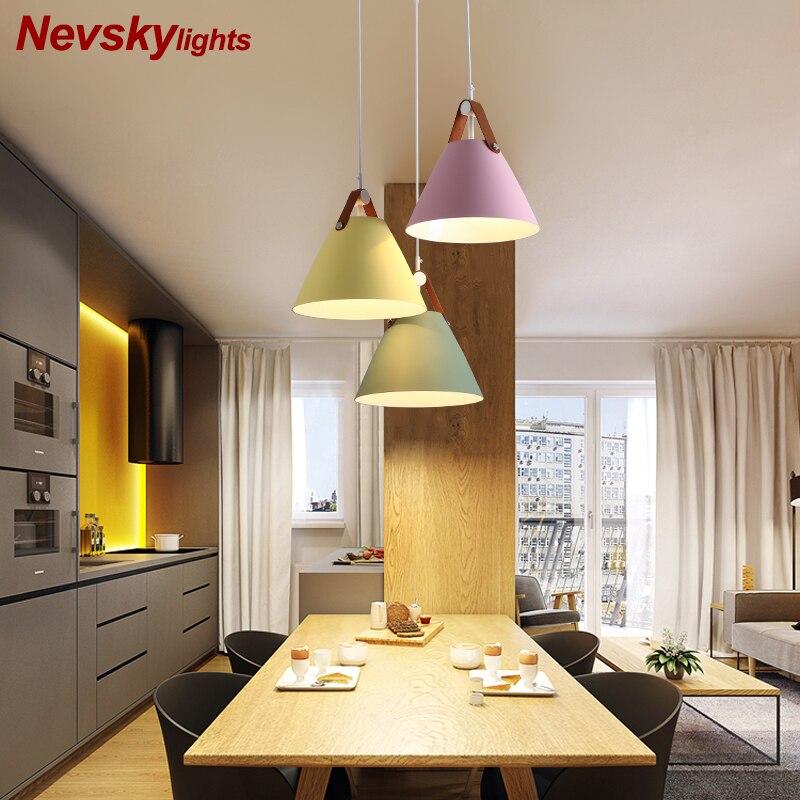 Ceinture en cuir luminaire suspension avec abat-jour en métal pour salle à manger lumière Style nordique lampe de pendentif LED lampes suspendues Multi